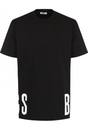 Хлопковая футболка с принтом Dirk Bikkembergs. Цвет: черный