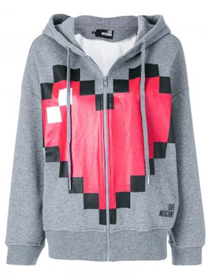 Pixel heart print zipped hoodie Love Moschino. Цвет: серый
