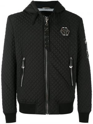 Стеганая куртка с капюшоном Philipp Plein. Цвет: чёрный