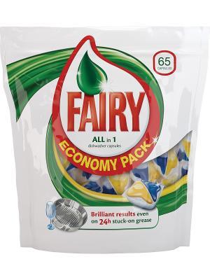 Средство для мытья посуды в капсулах посудомоечных машин All-in-1, 65шт Fairy. Цвет: белый