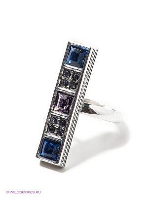 Кольцо Jenavi. Цвет: синий, серебристый, белый