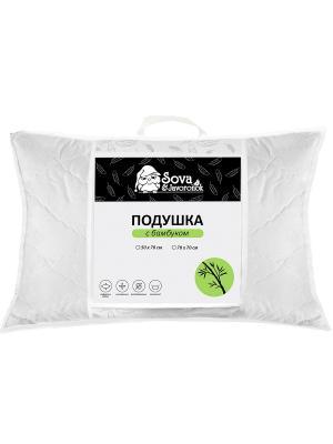 Подушка 50*70 бамбук Sova and Javoronok. Цвет: белый, бежевый