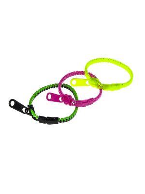 Браслет (3 шт.) Happy Charms Family. Цвет: розовый, желтый, черный, зеленый