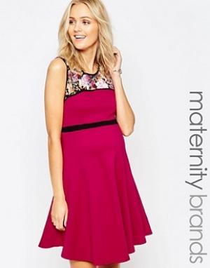 Ripe Короткое приталенное платье для беременных с цветочным принтом Ma. Цвет: розовый