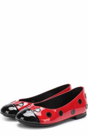 Лаковые балетки с контрастным декором Dolce & Gabbana. Цвет: красный