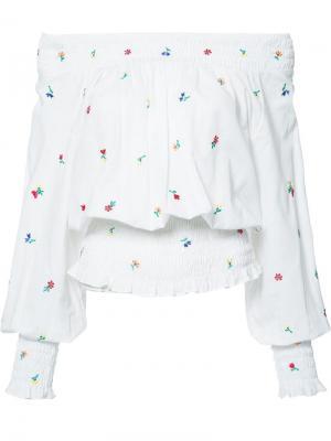 Блузка с открытыми плечами Suno. Цвет: белый