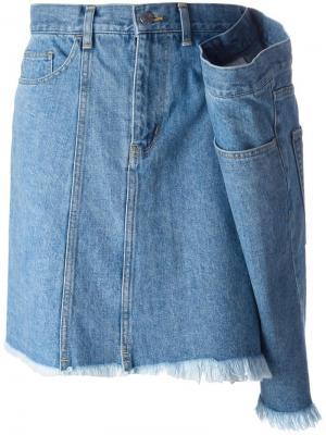 Drape detail denim skirt Facetasm. Цвет: синий