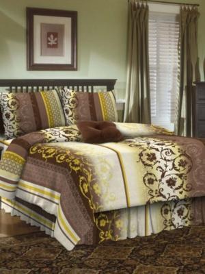 Комплект постельного белья, 1,5-сп, бязь, пододеяльник на молнии Letto. Цвет: коричневый, бежевый, зеленый
