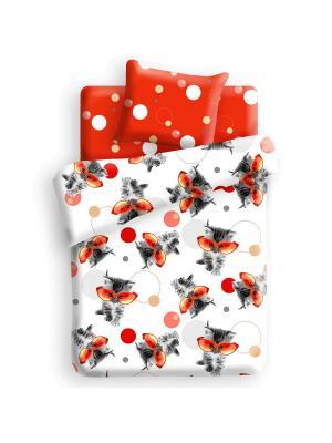 Комплект постельного белья 1,5 бязь Оранж 4you. Цвет: красный, белый