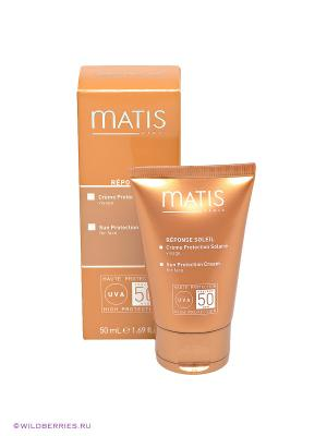 Крем солнезащитный для лица SPF50 загара Matis. Цвет: коричневый