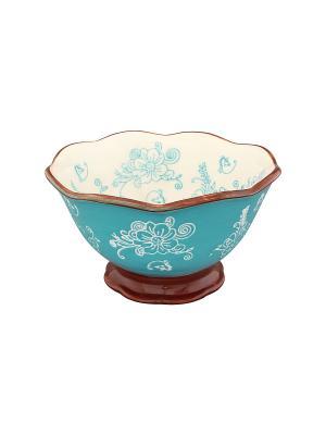 Салатник Цветочная симфония на голубом Elan Gallery. Цвет: бирюзовый, коричневый, белый