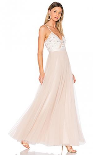 Вечернее кружевное платье с вышивкой Needle & Thread. Цвет: розовый