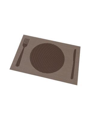 Набор 4-х салфеток Столовые приборы на коричневом Elan Gallery. Цвет: коричневый