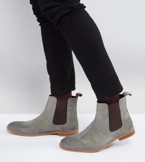 ASOS Серые замшевые ботинки челси для широкой стопы. Цвет: серый