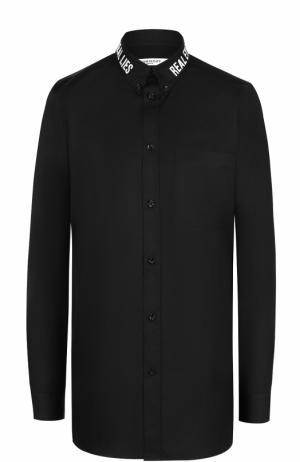 Хлопковая блуза прямого кроя с декорированным воротником Givenchy. Цвет: черный