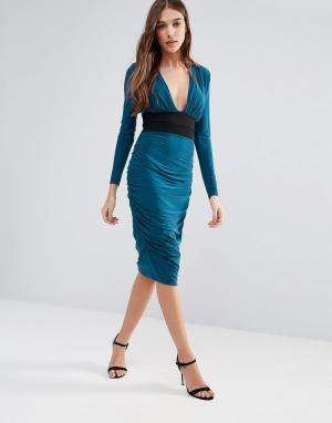 Hedonia Платье-футляр с длинными рукавами и контрастной талией. Цвет: зеленый