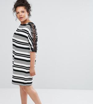 Elvi Платье с кружевными вставками. Цвет: мульти