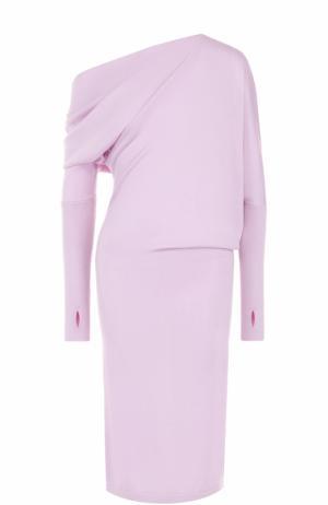 Кашемировое платье-миди с открытым плечом Tom Ford. Цвет: лиловый