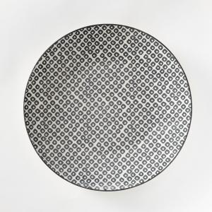 Комплект из 4 мелких тарелок фарфора Akiva La Redoute Interieurs. Цвет: кремовый/черный,экрю/розовый