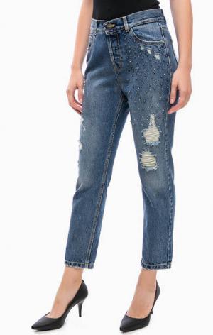 Рваные джинсы с декоративной отделкой Kocca. Цвет: синий