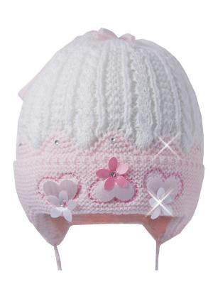 Шапка Ambra. Цвет: бледно-розовый, белый