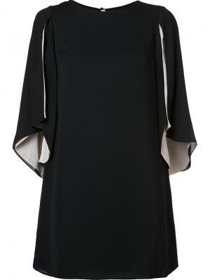 Draped sleeves shift dress Halston Heritage. Цвет: чёрный