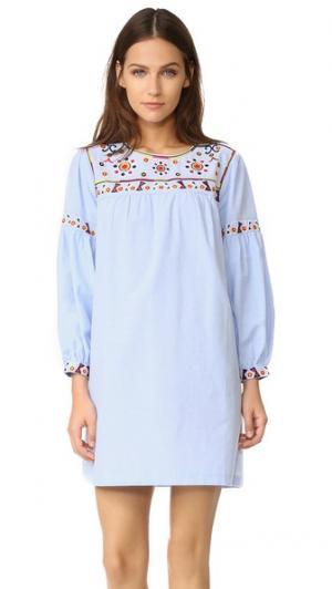 Платье с вышивкой ENGLISH FACTORY. Цвет: оксфордский синий