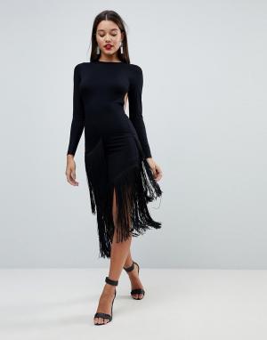 ASOS Платье миди с длинными рукавами, открытой спиной и асимметричной бахро. Цвет: черный