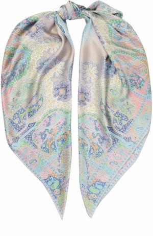 Шелковый платок с принтом Michele Binda. Цвет: белый