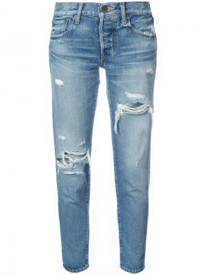 Укороченные джинсы с эффектом потертости Moussy. Цвет: чёрный