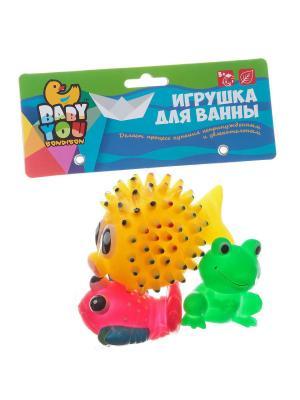 Игр. наб. для купания, Bondibon, рак, лягушка, мор. ёж, 3 шт., pvc, арт. EL1208 BONDIBON. Цвет: зеленый, желтый, оранжевый, розовый, синий