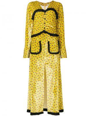 Пальто с деталью под корсет Alessandra Rich. Цвет: жёлтый и оранжевый