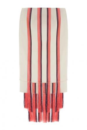 Хлопковая юбка Gabriela Hearst. Цвет: бежевый, красный