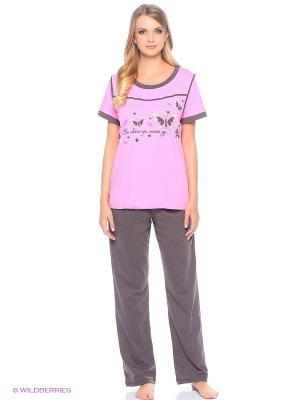 Комплект домашней одежды ( футболка, брюки) HomeLike. Цвет: коричневый, розовый