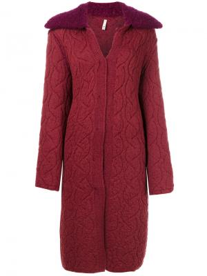 Пальто-кардиган с открытыми швами Boboutic. Цвет: красный