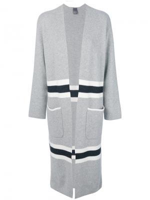 Пальто с контрастными вставками Lorena Antoniazzi. Цвет: серый