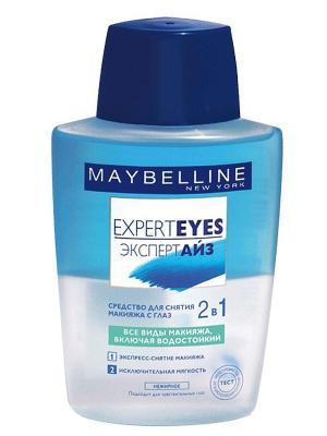 Средство для снятия макияжа с глаз 2 в 1 Expert Eyes, двухфазное, 125 мл Maybelline New York. Цвет: голубой