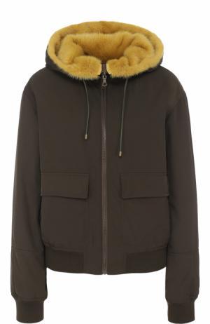 Двусторонняя куртка с подкладкой из меха норки Army Yves Salomon. Цвет: хаки