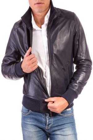 Кожаная куртка AD MILANO. Цвет: синий