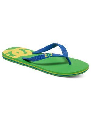 Шлепанцы SPRAY M SNDL DC Shoes. Цвет: салатовый, синий