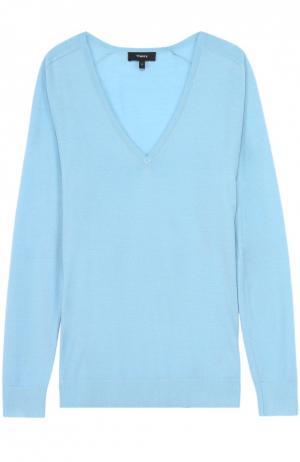 Пуловер прямого кроя с V-образным вырезом Theory. Цвет: голубой