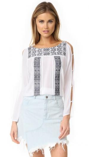 Рубашка с вышивкой OndadeMar. Цвет: фрезия