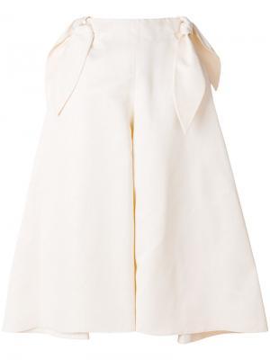 Широкие брюки с бантом Delpozo. Цвет: телесный