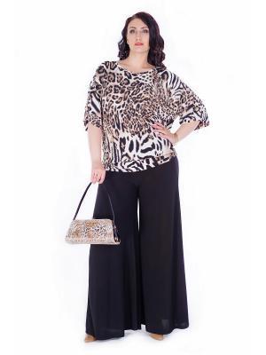 Блуза Darissa Fashion. Цвет: черный, темно-коричневый