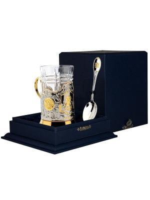 Набор для чая Георгий Победоносец (подстаканник +стакан+серебряная ложка)+футляр АргентА. Цвет: золотистый, серебристый