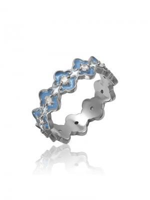 Кольцо из коллекции Гжель KU&KU. Цвет: голубой, белый, серебристый