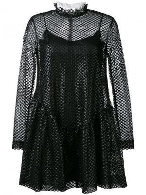 Платье с верхом из сетки Jourden. Цвет: чёрный