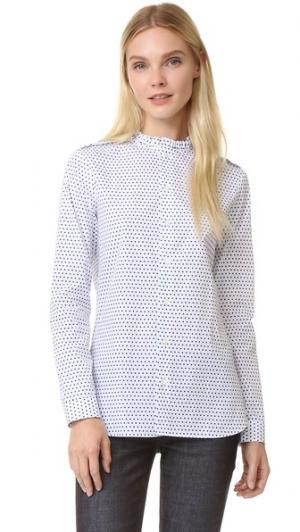 Рубашка Diana с оборками на воротнике Marie Marot. Цвет: темно-синий/белый горошек