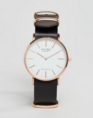 Reclaimed Vintage Часы с черным кожаным ремешком Inspired. Цвет: черный