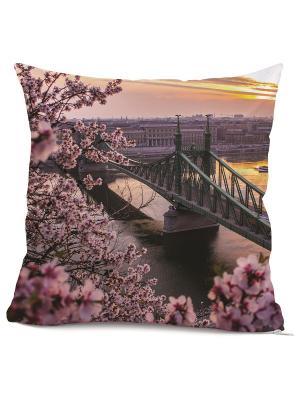 Готовая наволочка Бруклинский мост Матренин Посад. Цвет: белый, розовый, серый